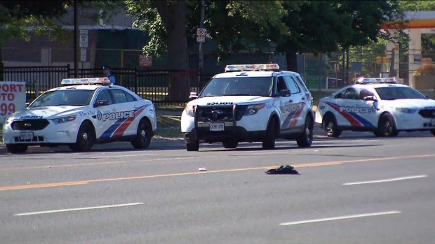 Police vehicles are shown at the scene of a stabbing investigation near Markham and Ellesmere roads on Saturday morning.