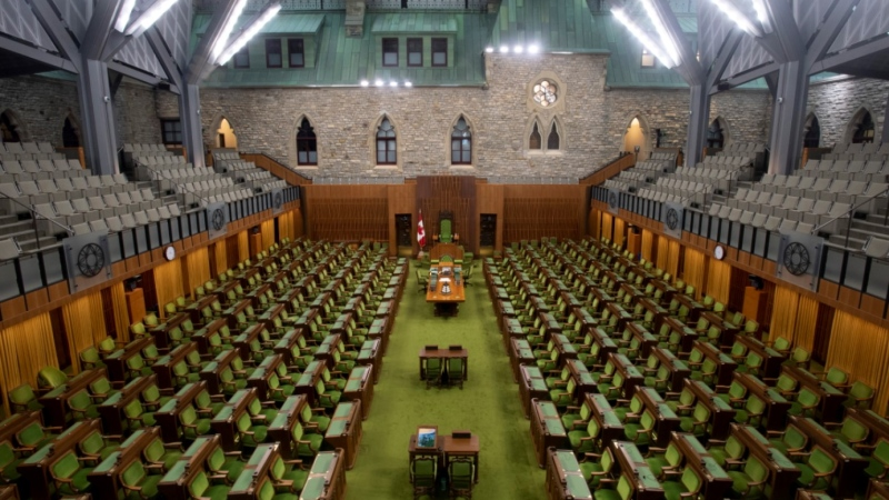 The House of Commons chamber is seen empty, Wednesday April 8, 2020 in Ottawa. The average attendance for Alberta's Conservative MPs for the special COVID-19 committee, which has acted as a stand-in for the chamber, from May 27 to June 18 has been about 42 per cent. THE CANADIAN PRESS/Adrian Wyld