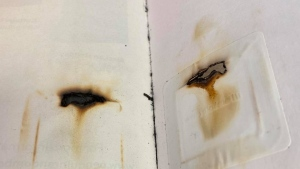 The Kent District Library in Michigan says a book was returned with burns that looked like it was put in the microwave. (Kent District Library)
