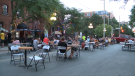 Customers dine on patios expanded onto Somerset St. W. July 3, 2020. (Taylor Rossi / CTV News Ottawa)