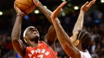 Toronto Raptors forward Pascal Siakam (43) gets fouled by Brooklyn Nets forward Wilson Chandler (21) to get the game-winning basket during second half NBA basketball action in Toronto, Saturday, Feb. 8, 2020. THE CANADIAN PRESS/Frank Gunn