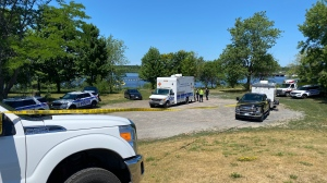 Ottawa police are searching the Ottawa River on July 4, 2020, for a missing 14-year-old boy, who didn't resurface after jumping from the Prince of Wales Bridge with a group of friends. (Jeremie Charron / CTV News Ottawa)
