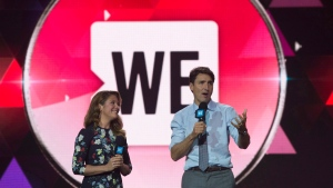 Canadian Prime Minister Justin Trudeau and Sophie Gregoire Trudeau appear on stage during WE Day UN in New York City, Wednesday September 20, 2017. THE CANADIAN PRESS/Adrian Wyld