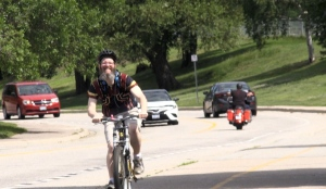 Andrew Lindsay of East Ferris and his extended northern Ontario family are cycling for the entire month of August in hopes of raising money for the SickKids Foundation. (Eric Taschner/CTV News)