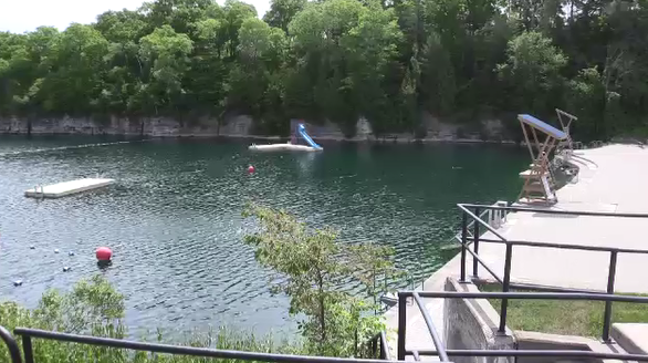 Quarry swimming pool in St. Marys, Ont. on July 4, 2020. (Brent Lale/CTV London)