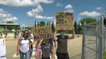 Anti-racism rally in Spruce Grove on July 4, 202.
