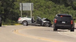 A car and SUV collided on Hwy 12 in Tay Twp on Sat. July 4, 2020 (David Sullivan/CTV News)