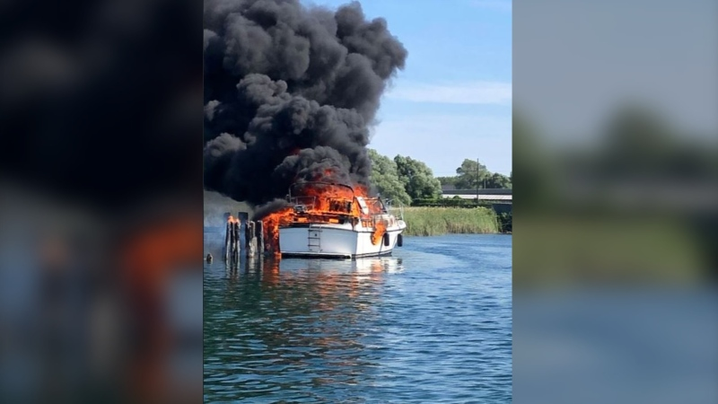 Boat fire at Bridge Port Marina in Orillia, Ont. on Sat. July 4, 2020 (OPP handout)