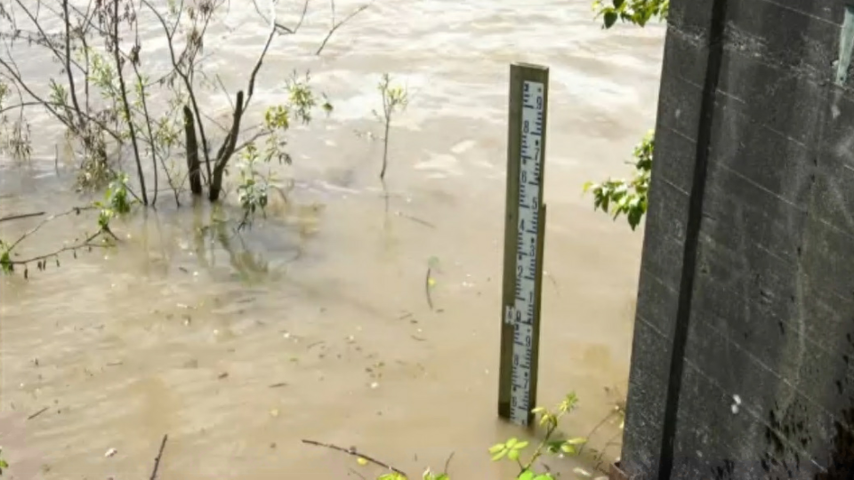 The Mission water gauge currently sits at just about 5 metres, but Zwaab told CTV News the prediction is it will reach 5.9 or 6.0 by Monday. (CTV)