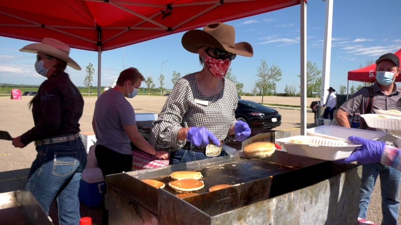 Physically distanced pancake breakfast for the Calgary Stampede in 2020.