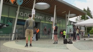 Protesters oppose federal funds for aquarium