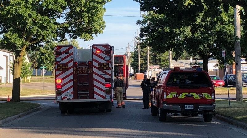 Gas leak at Trafalgar Street on Saturday, July 4, 2020 (Jordyn Read / CTV News)