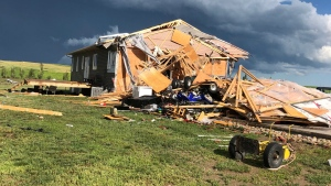 A home near Meyronne, Sask. was damaged during a storm on July 4, 2020. (Courtesy: Colin Smith)