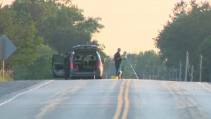 Stratford Police at the scene of a fatal crash on Line 26 near Highway 7. (July 4, 2020)