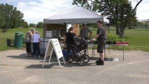 Produce, meat and craft producers from Timmins and its surrounding area set-up shop at the Mountjoy Farmers Market for opening day. They will be there every Saturday from 9:00 a.m. to 12:00 p.m. until Thanksgiving weekend. July 4/2020 (Lydia Chubak/CTV News Northern Ontario)