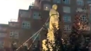 A statue of Christopher Columbus was pulled down in Baltimore, Md. on July 4, 2020. (Spencer Compton via Storyful)