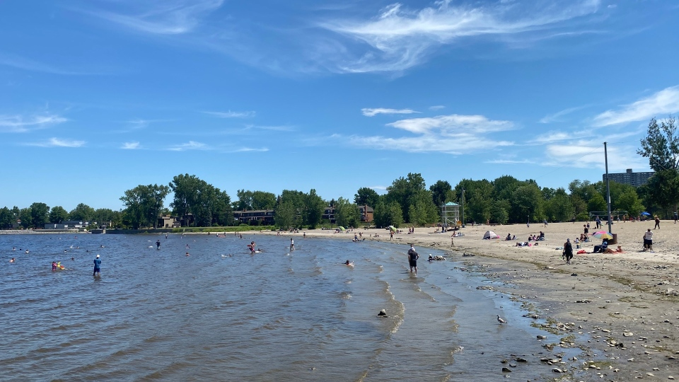 Ottawa police say they recovered the body of a 20-year-old man who apparently drowned while swimming at Britannia Beach Saturday, July 4, 2020. (Jeremie Charron / CTV News Ottawa)