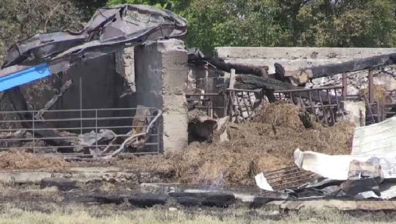 The aftermath of a barn fire on Manser Road in Wellesley. (Johnny Mazza - CTV Kitchener) (July 5, 2020)