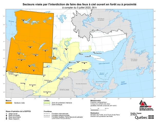 SOPFEU map of open fire ban