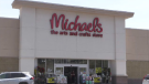 The Michaels store in Waterloo on July 5. Days earlier, the store was temporarily closed and had a lease termination notice on its door. (Adam Marsh - CTV Kitchener) (July 5, 2020)