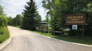 Ontario Provincial Police say three people, including a child, were injured in an explosion at a campsite at the Tay River Tent & Trailer Park near Perth, Ont. Saturday, July 4, 2020. (Dave Charbonneau / CTV News Ottawa)