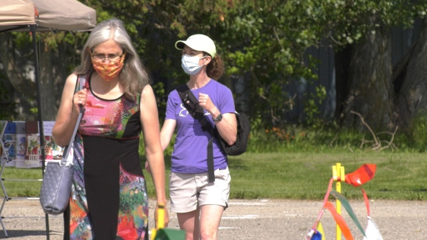 People in Timmins can be seen just about anywhere wearing face masks while a threat of COVID-19 continues to linger.  Timmins city council is considering implementing a by-law that would make it mandatory for people to wear masks inside public buildings. July 4/2020 (Lydia Chubak/CTV News Northern Ontario)