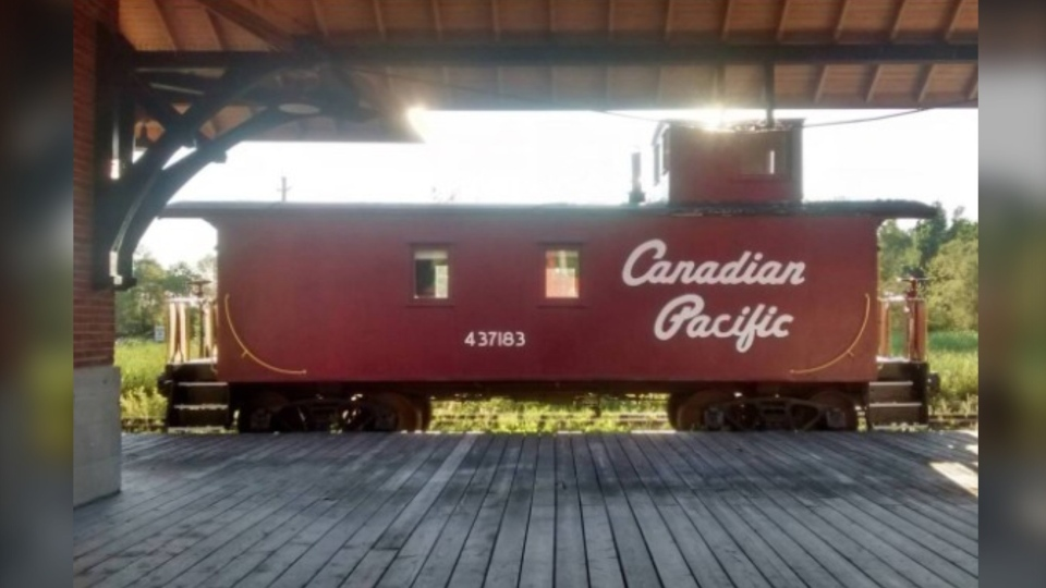 The 1945 CP Caboose in Smiths Falls. (Photo courtesy: Airbnb.ca - The Railway Museum of Eastern Ontario)
