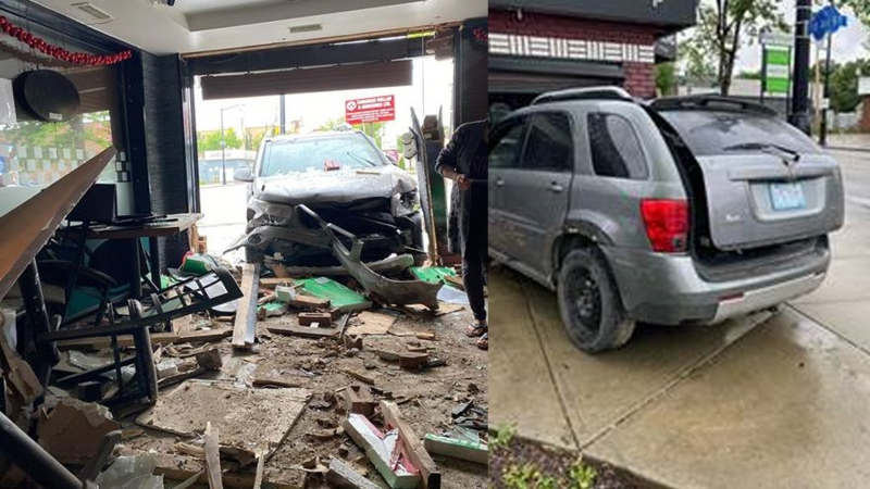 An SUV crashed into the Pho King restaurant on 118 Avenue on July 5, 2020. (Credit: Pho King)