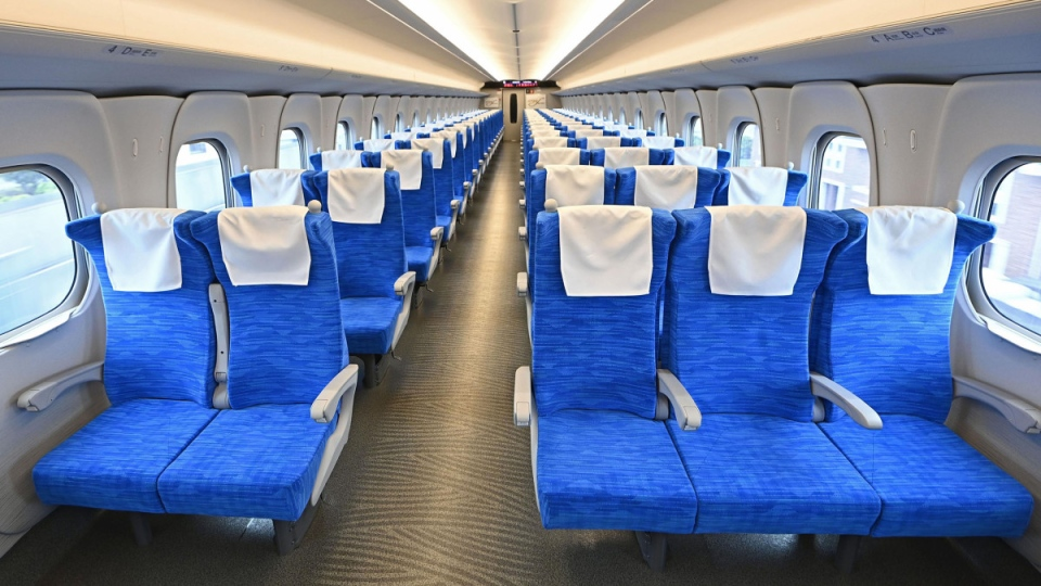 Inside a new N700S shinkansen bullet train car
