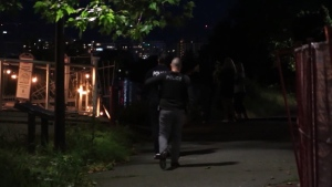 Police and search and rescue crews were seen along the Fraser River in Richmond Sunday night.
