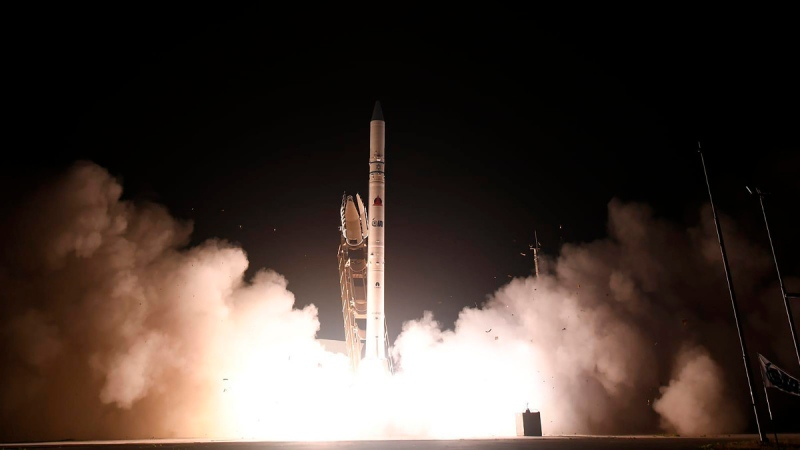 The 'Ofek 16' reconnaissance satellite blasts off at the Palmachim air base in central Israel on July 6, 2020. (Israel Ministry of Defense Spokesperson's Office via AP)