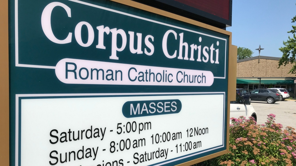 Corpus Christi Roman Catholic Church in Windsor, Ont., on Monday, July 6, 2020. (Michelle Maluske / CTV Windsor)