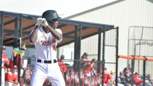 Jeremiah Chapman of Charles City High School in Charles City, Iowa is pictured batting for his baseball team. (Credit: Courtesy Jessica Barry / CNN)