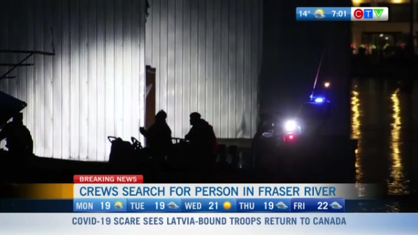Crews search for missing person, Fraser river