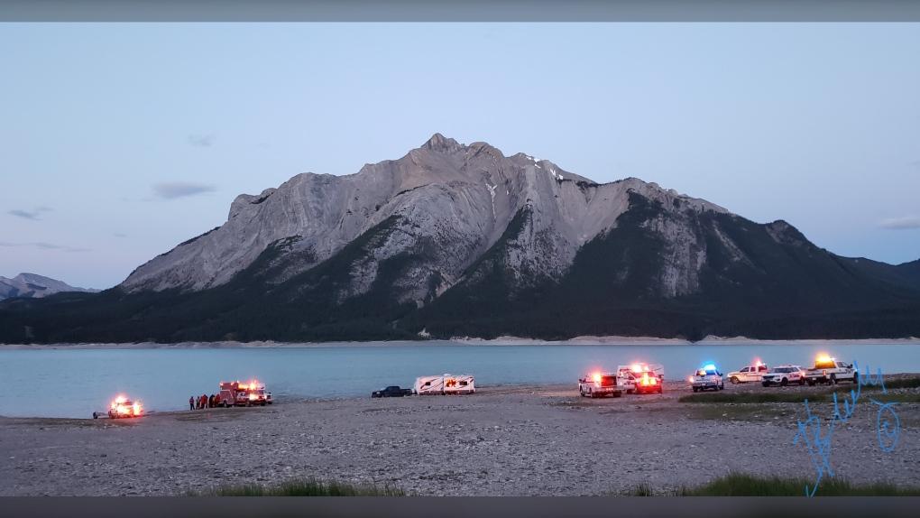 Abraham Lake, rescue, canoe, capsized
