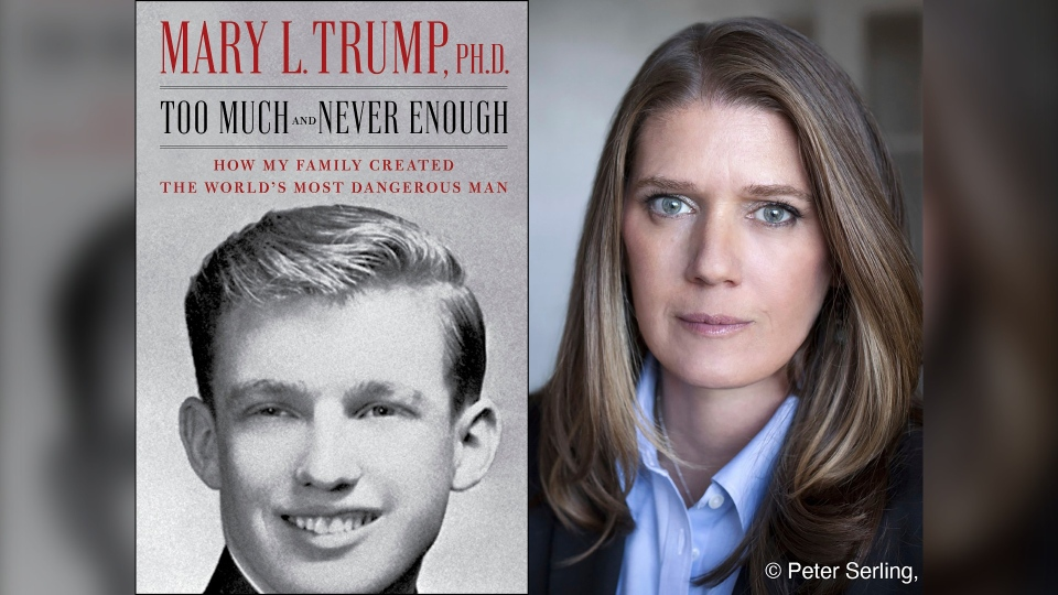 'Too Much and Never Enough: How My Family Created the World's Most Dangerous Man', left, and author Mary L. Trump, Ph.D. (Simon & Schuster, left, and Peter Serling/Simon & Schuster via AP)