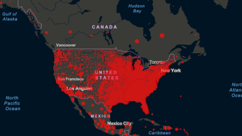 This photo shows COVID-19 cases in Canada and the United States. The data on the map above is on a more localized level in the United States, which makes it appear more red, but there are an overwhelming number of cases south of the border compared to Canada. (Source: Johns Hopkins University)