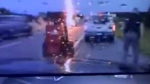 U.S. police officer nearly struck by lightning