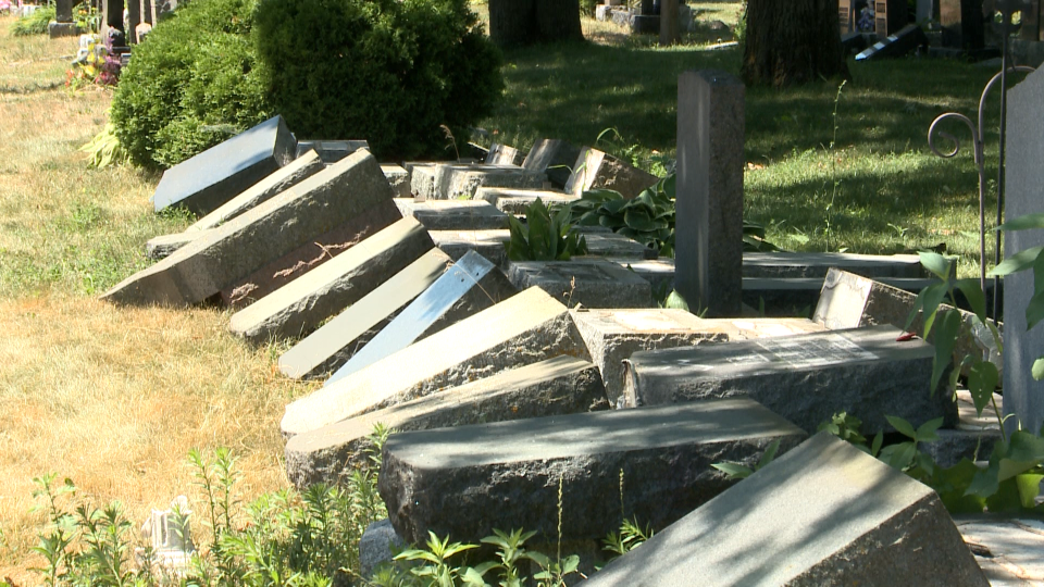 Notre Dame Cemetery headstones vandalized
