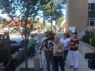 The family of Rocky Lonechild stood outside the Provincial Court house on Monday morning as Lonechild was appearing in court by video for charges. Lonechild's family said the officers who arrested Lonechild should be the ones appearing in court.