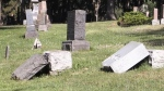 Naked man damages tombstones