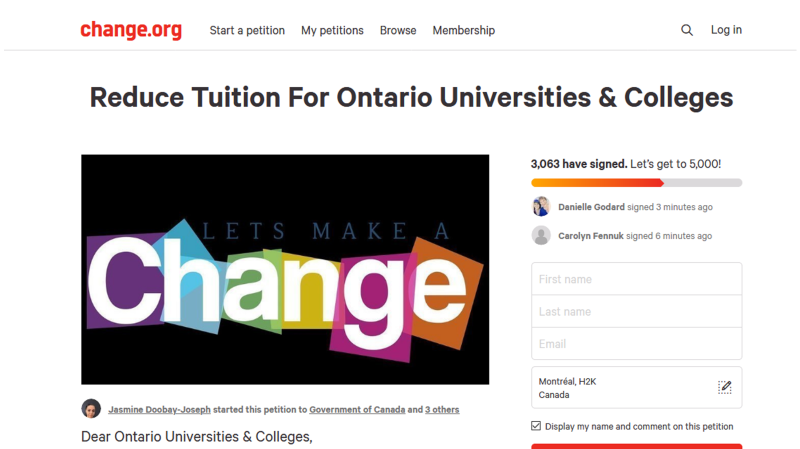 Petition calls for lower tuition