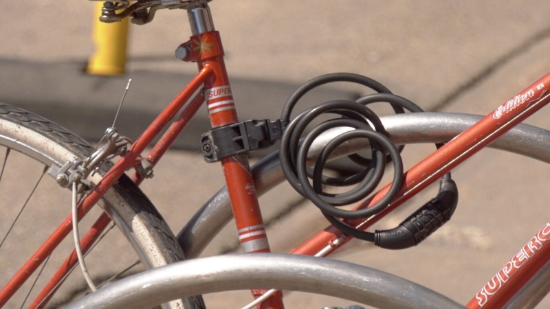A bicycle with a lock. (Chris Brinkworth/CTV News Edmonton)