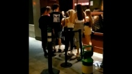 Bar-goers in Brossard during COVID