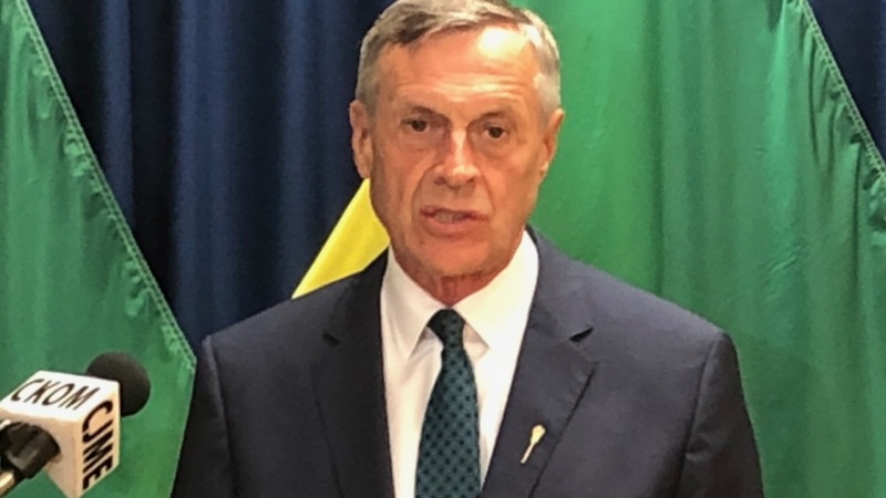 Attorney General Don Morgan speaks to reporters in Saskatoon on July 6, 2020. (Francois Biber/CTV Saskatoon)