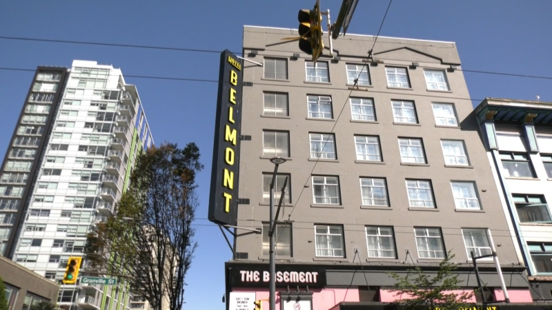 The outside of the Hotel Belmont in downtown Vancouver is seen in this CTV News file image.