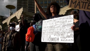Participants in a Black Lives Matter rally at Olympic Plaza in downtown Calgary in early June called for the end of systemic racism and abuse at the hands of police