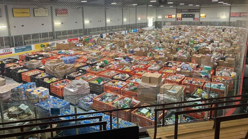 Donations fill an entire ice pad at the WFCU Centre in Windsor, Ont., on June 27, 2020. (Courtesy June 27th Miracle / Facebook)