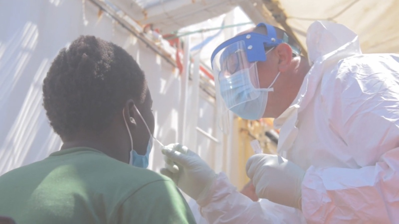 Italian authorities conducted COVID-19 tests on migrants rescued on the Ocean Viking vessel, before they were able to disembark in Sicily.