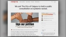 Petition calling on the City of Calgary to host a public consultation on systemic racism